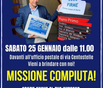 Brindiamo sabato 25 gennaio 2020 per il successo della raccolta firme lanciata da Marcheschi per non chiudere l'ufficio postale di via Centostelle
